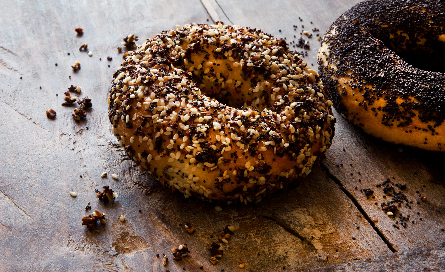 Seeded Bagels, Rose Hodges Food Photography