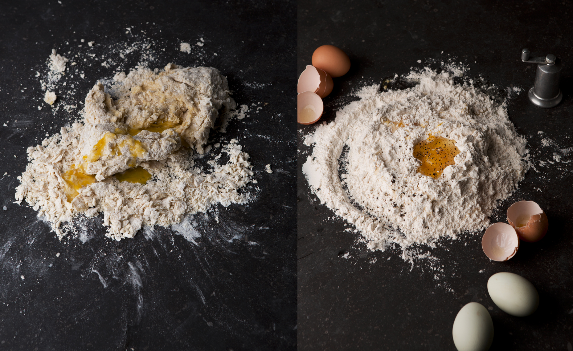 Egg in Flour for Pasta, Making Pasta, Rose Hodges Food Photography San Francisco