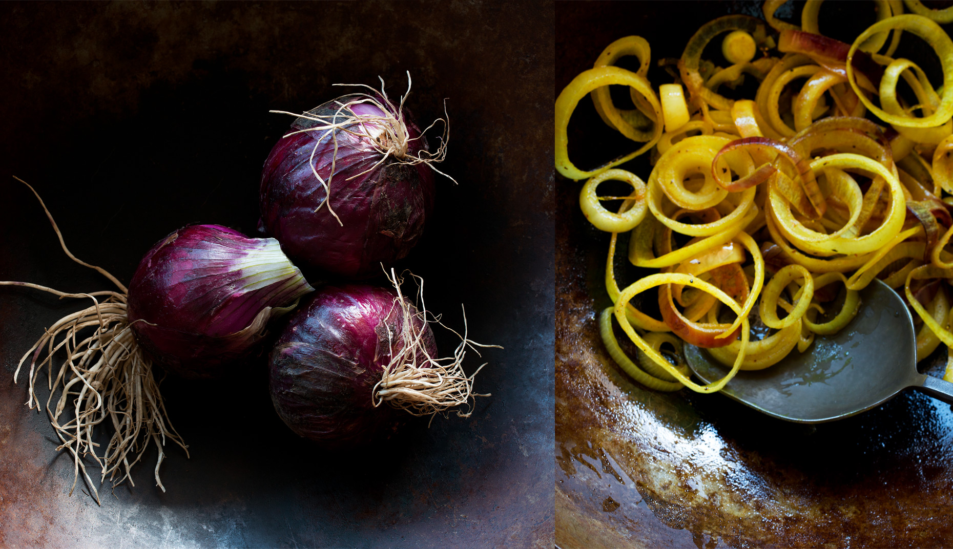 onions, fried and whole, Rose Hodges Food Photography San Francisco