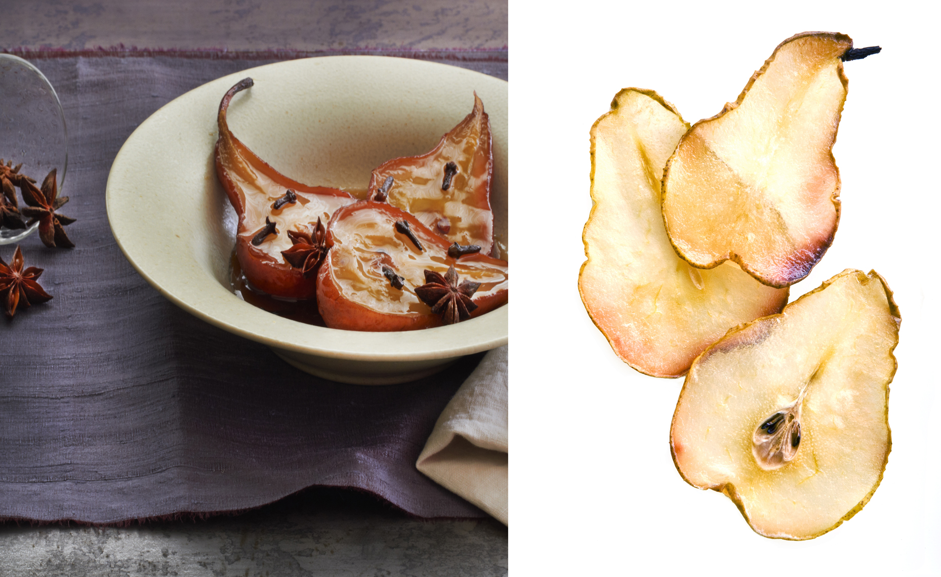 Caramelized Pears, Baked Pear Chips, Rose Hodges Food Photography, San Francisco