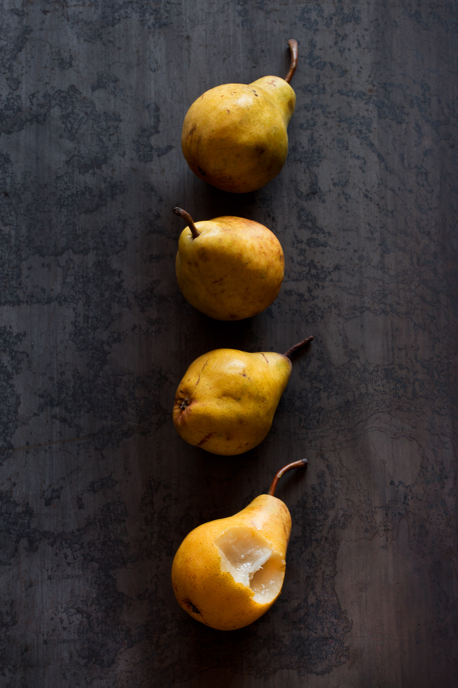 Bosc Pears, Yellow, Rose Hodges Food Photography