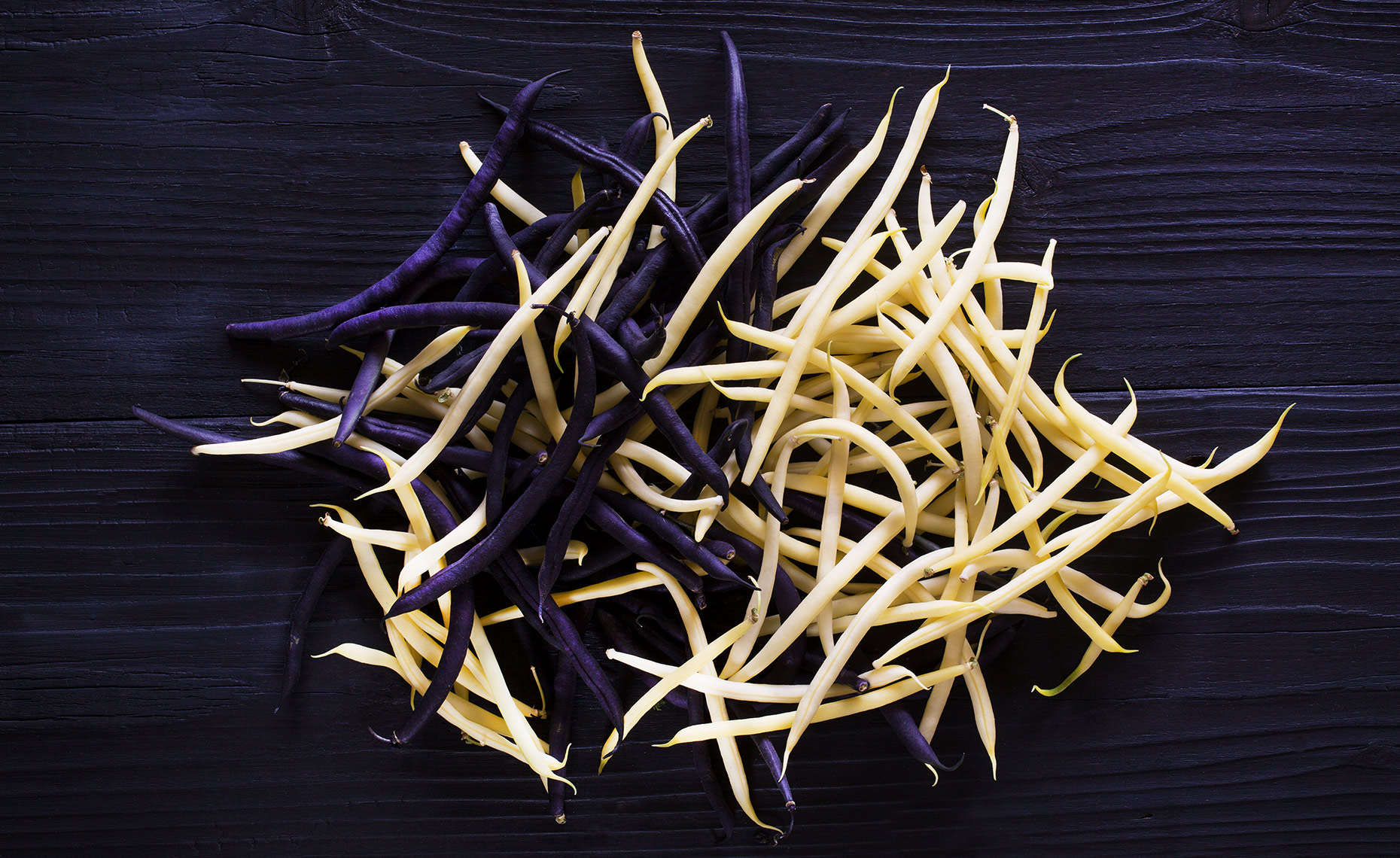 Purple Yellow Fresh Beans, Rose Hodges Food Photography