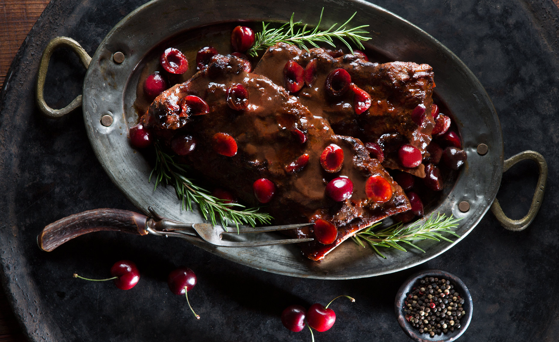 Baby Back Ribs with Cherry Sauce, Rose Hodges Food Photography