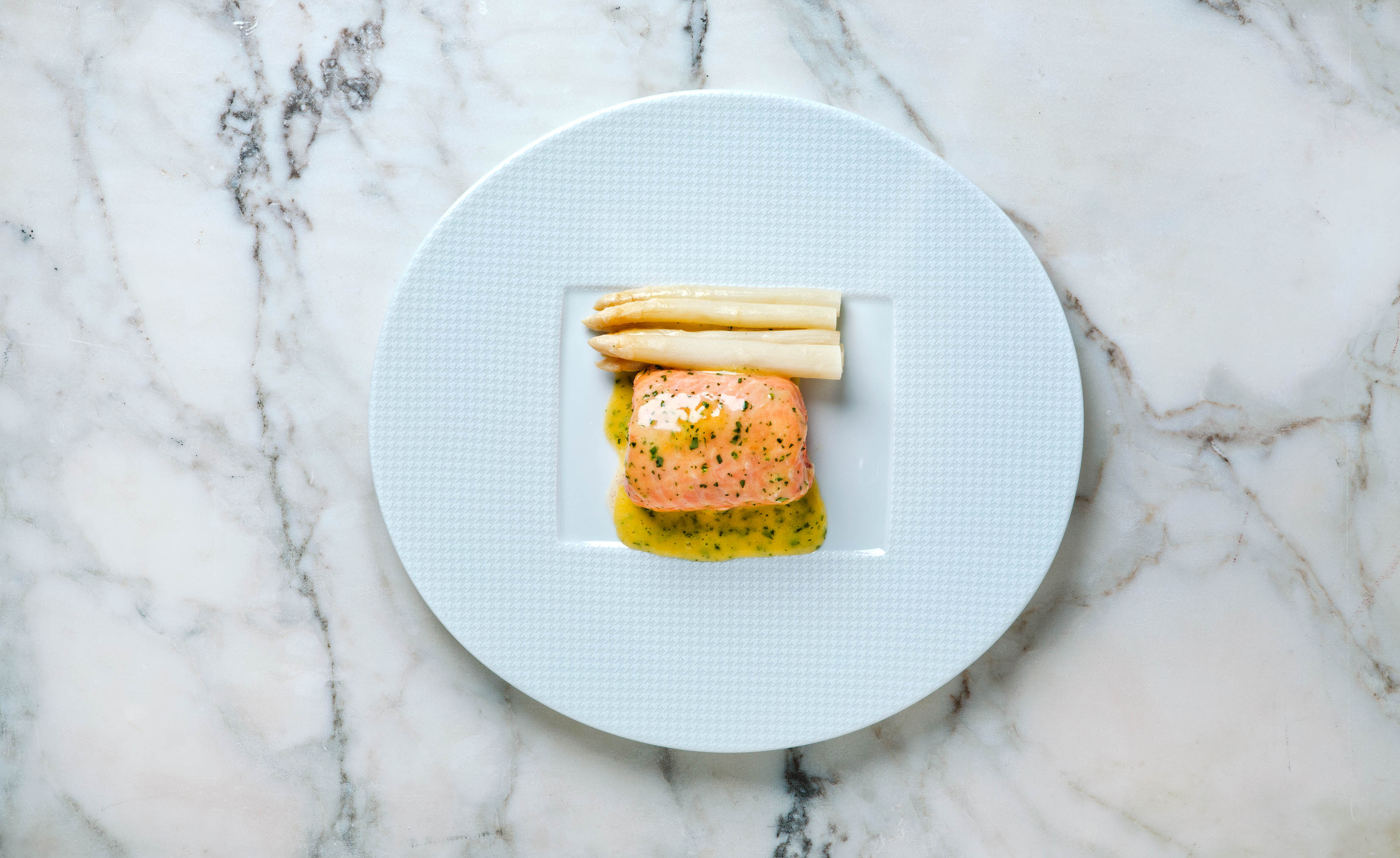 Poached Salmon and Fresh White Asparagus,  Thomas Keller, Rose Hodges Food Photography