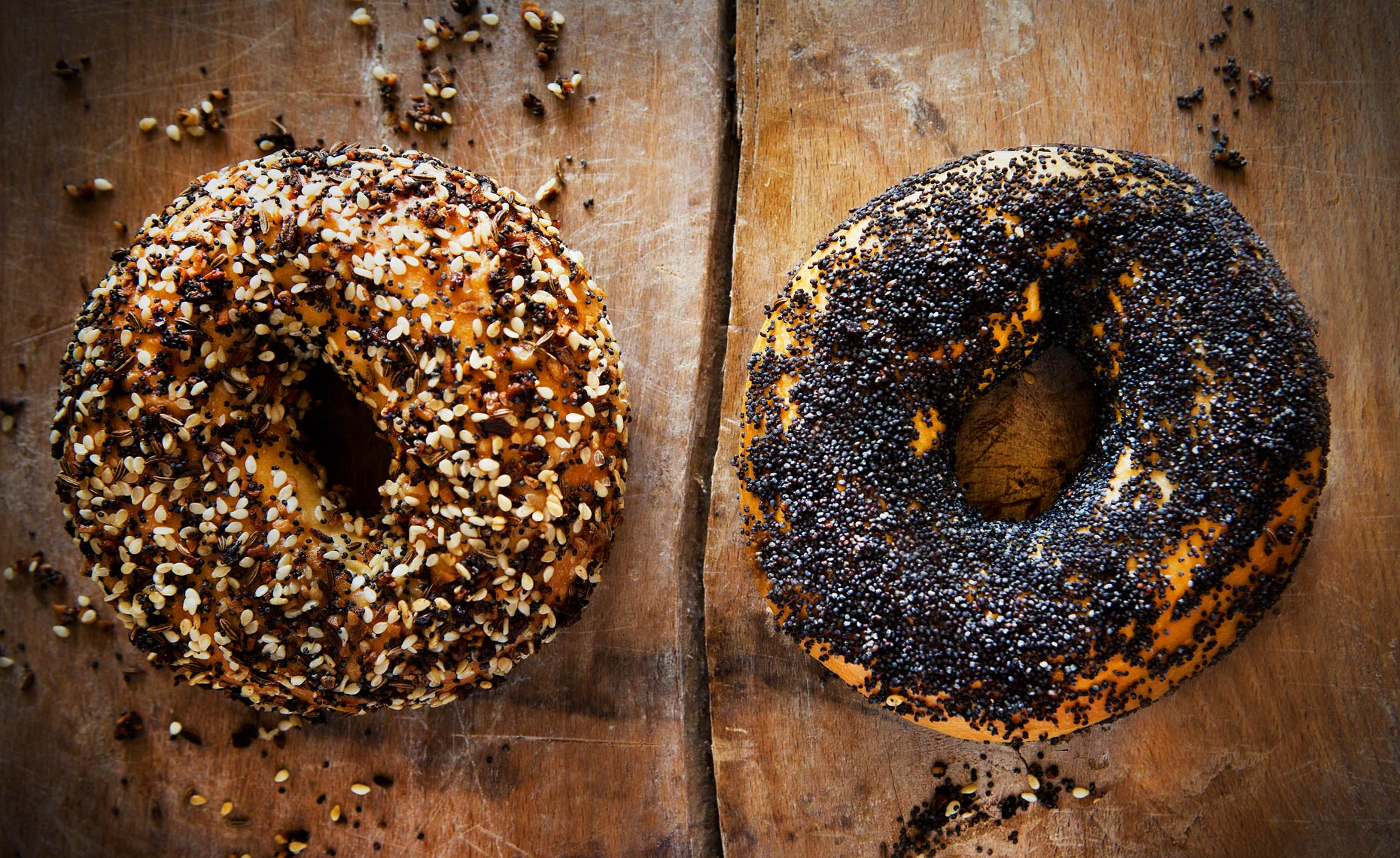 Sesame and Everything Bagels, Rose Hodges Food Photography