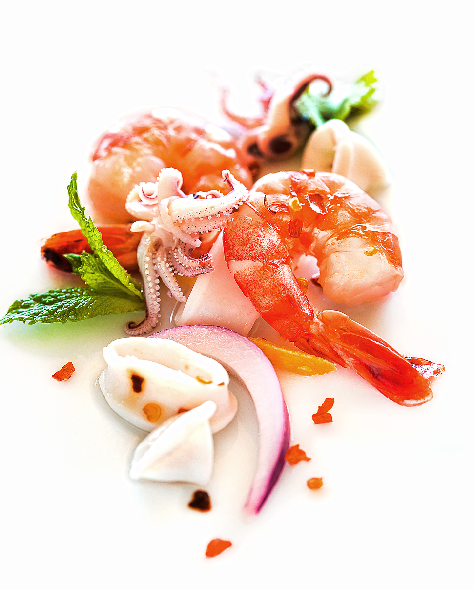 appetizer, fresh calamari, shrimp, ceviche, Rose Hodges Food Photography