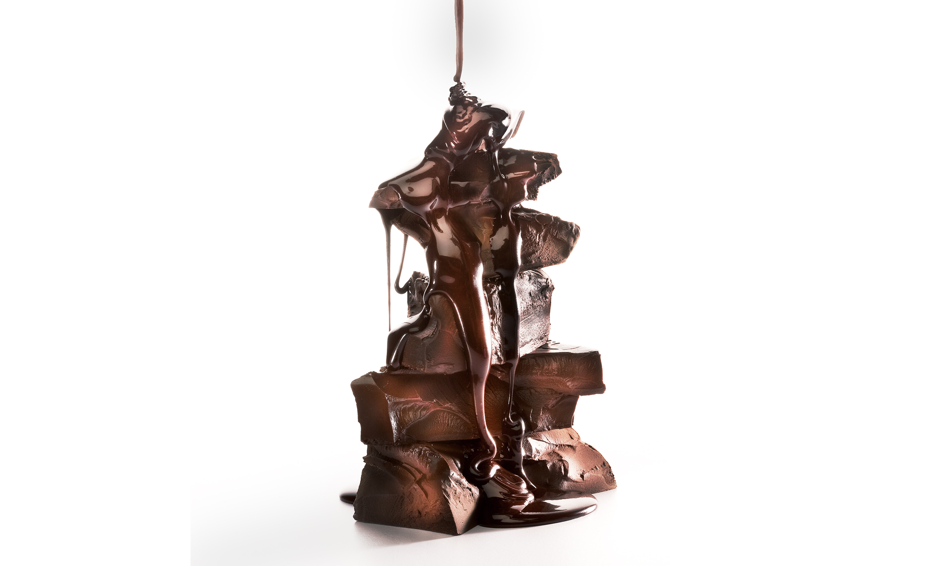 Dark Chocolate Stack Dripping, Rose Hodges Food Photography, San Francisco