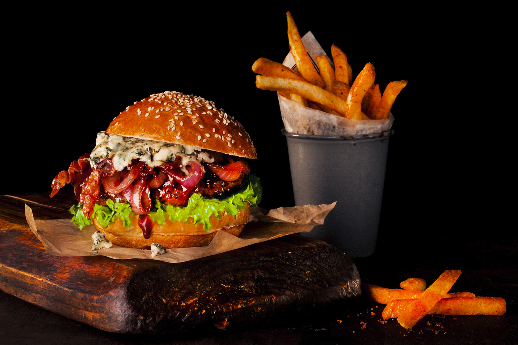 Hamburger and Fries, Rose Hodges Food Photography