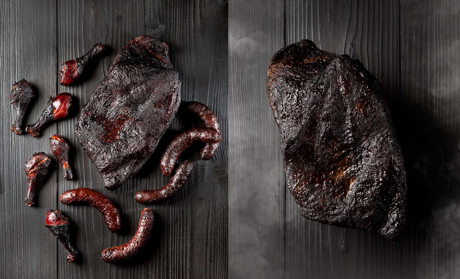 Smoked Blackened Meats and Sausage, Rose Hodges Food Photographer