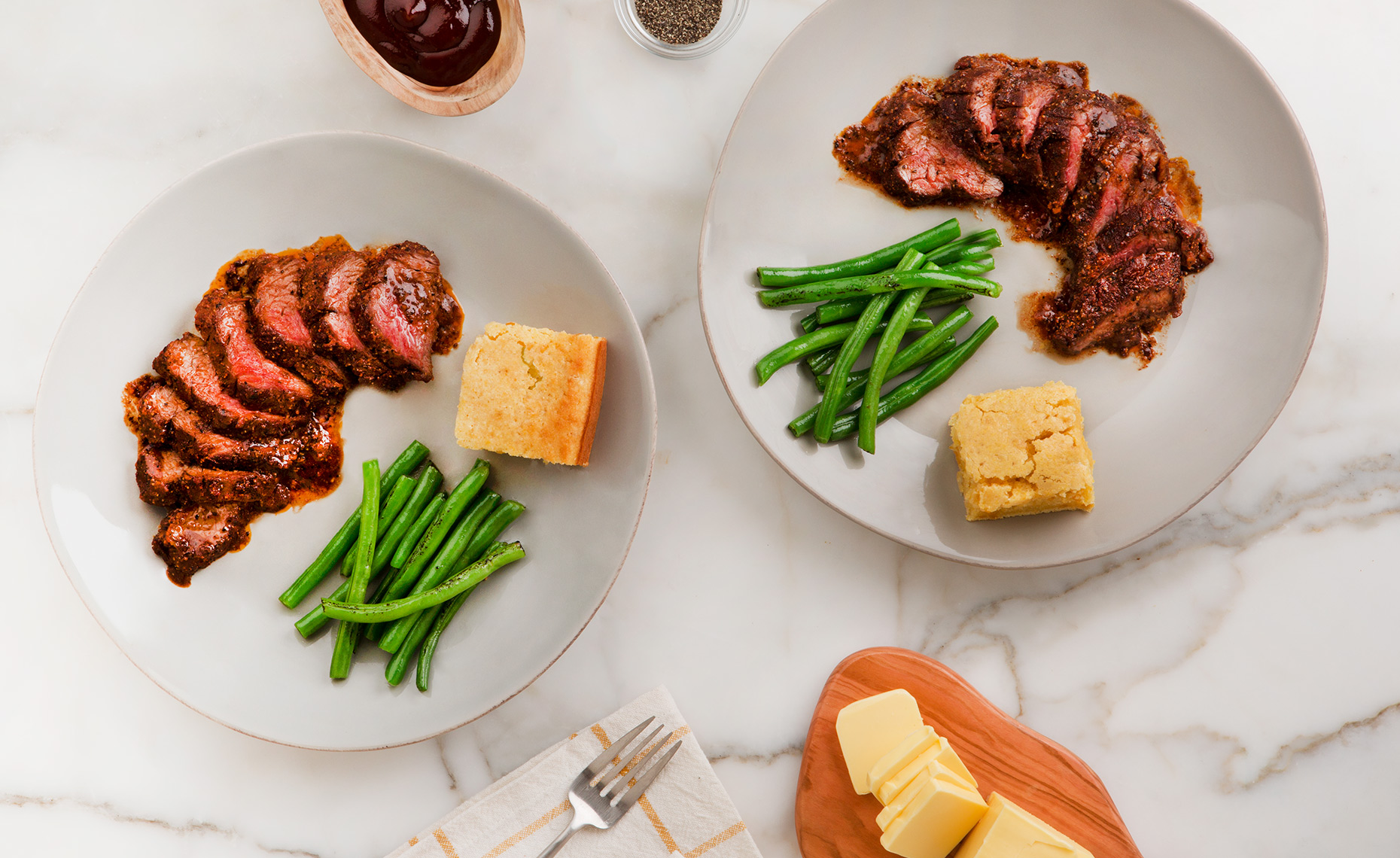 Steak Tenderloin with Green Beans Dinner, Rose Hodges Food Photography San Francisco